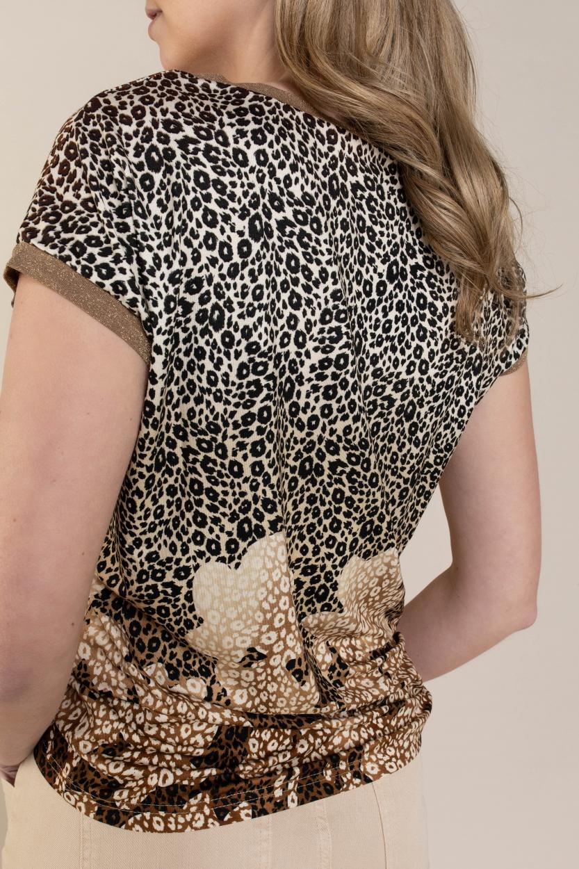 Geisha Dames Luipaardprint blouse Bruin