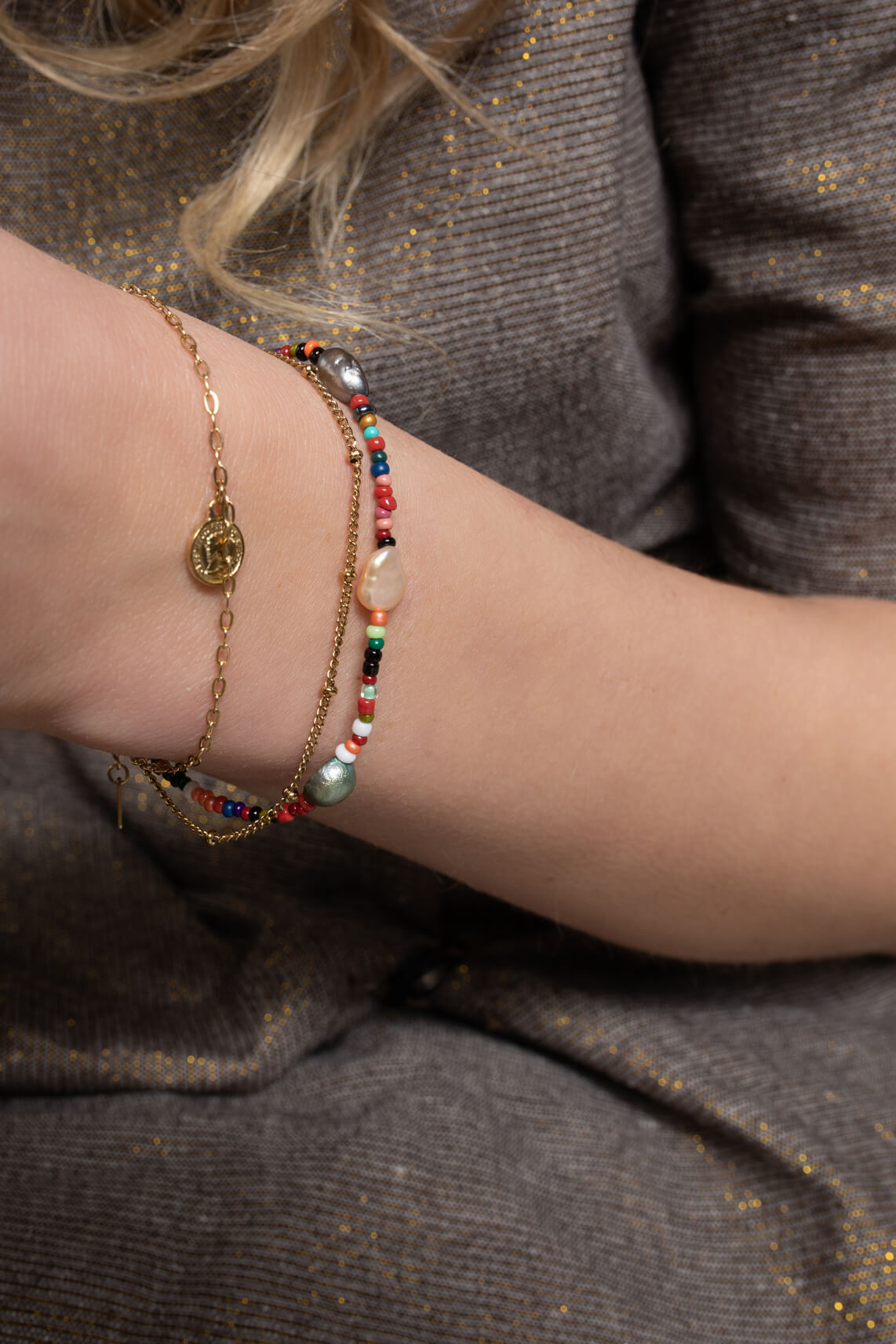 By Jam Dames Ketting & armband set goud