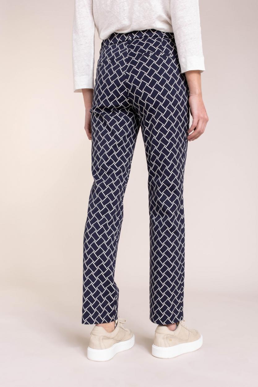 Gardeur Dames Pantalon met grafische print Blauw
