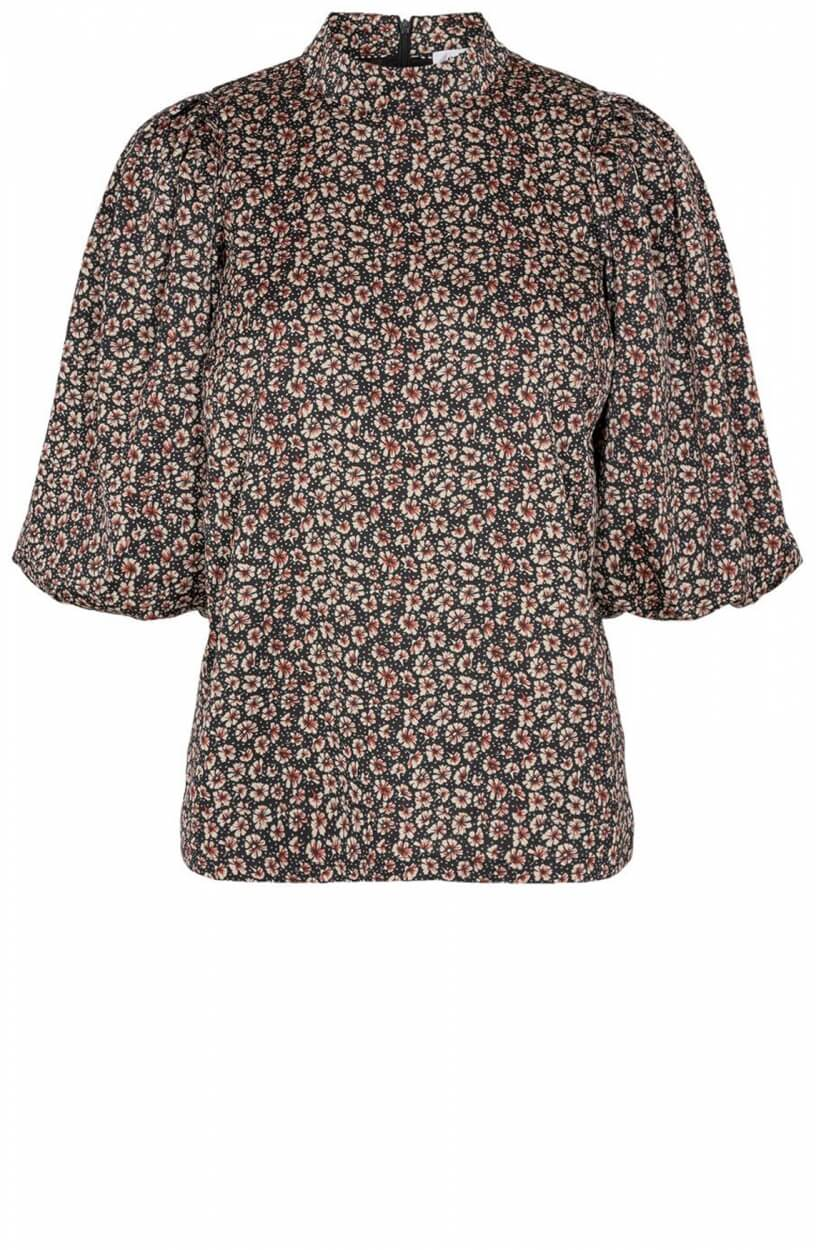 Co Couture Dames Fox bloemenprint blouse Zwart