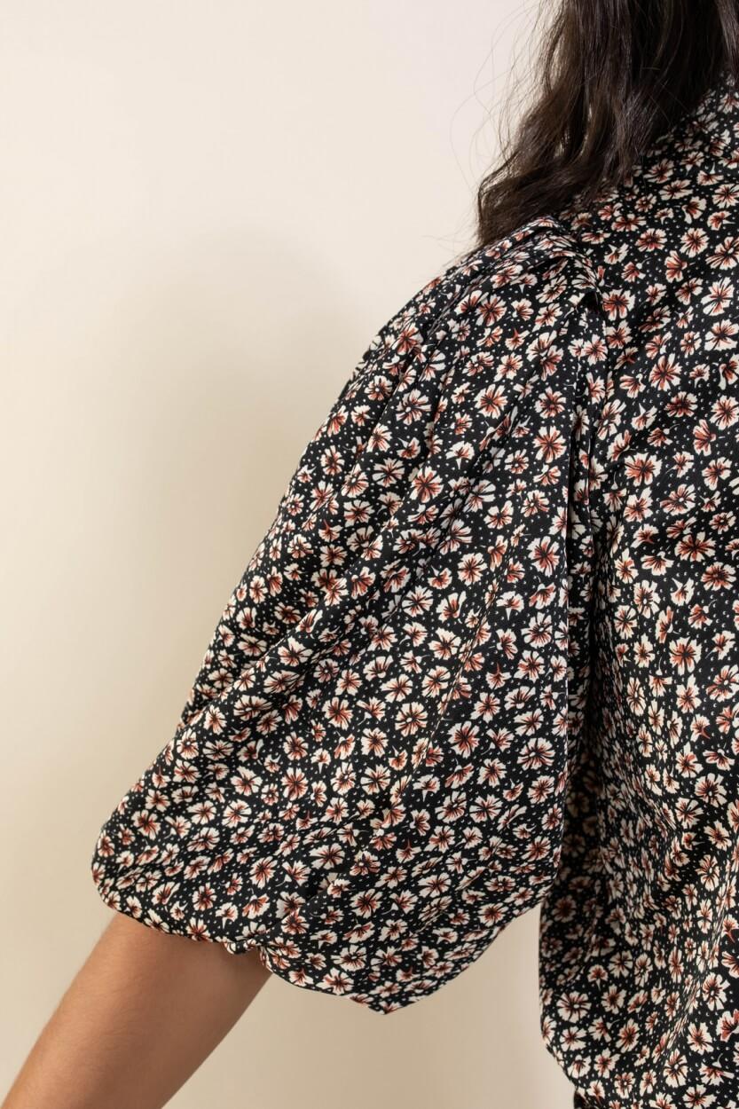 Co Couture Dames Fox bloemenprint blouse Zwart