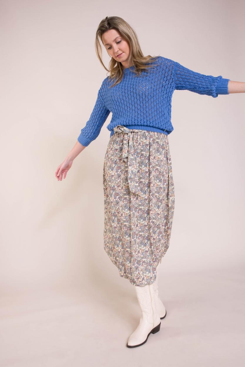 Anna Dames Paisley rok Blauw