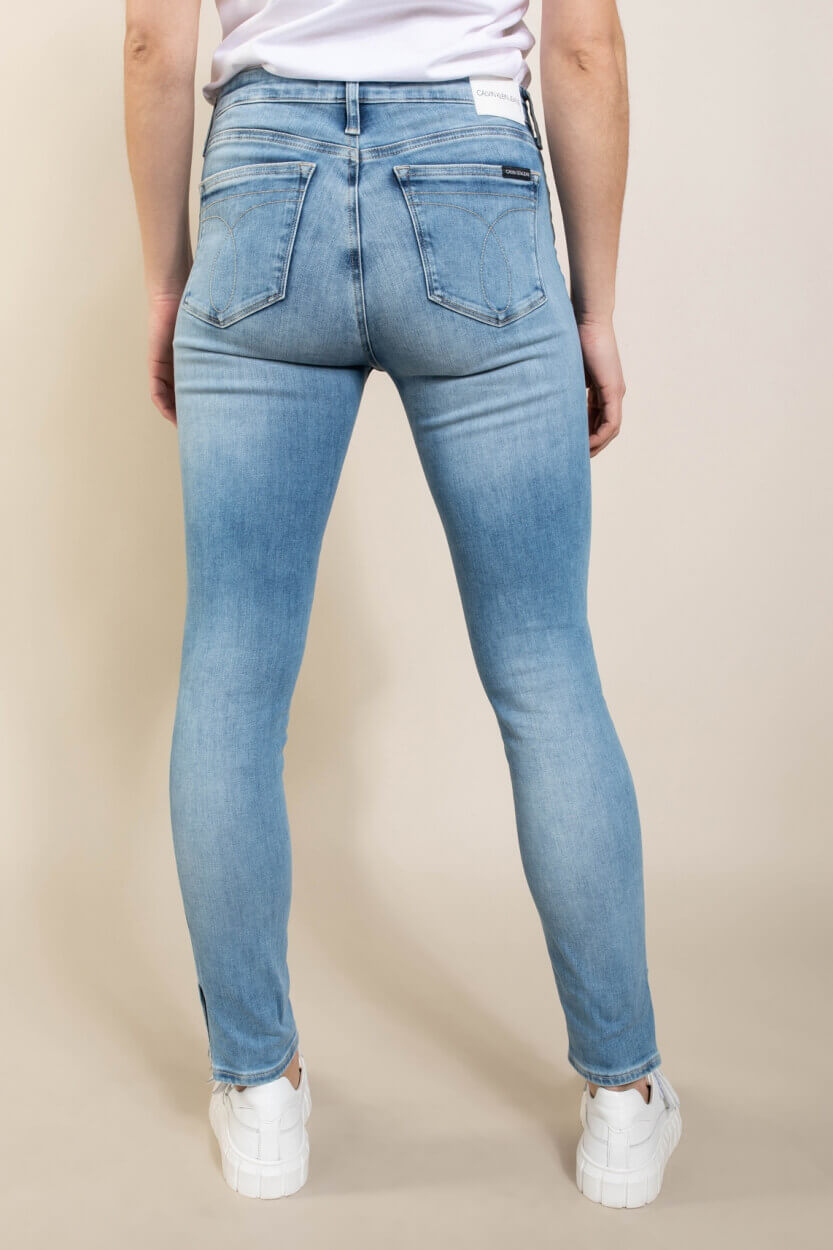 Calvin Klein Dames Jeans met split Blauw