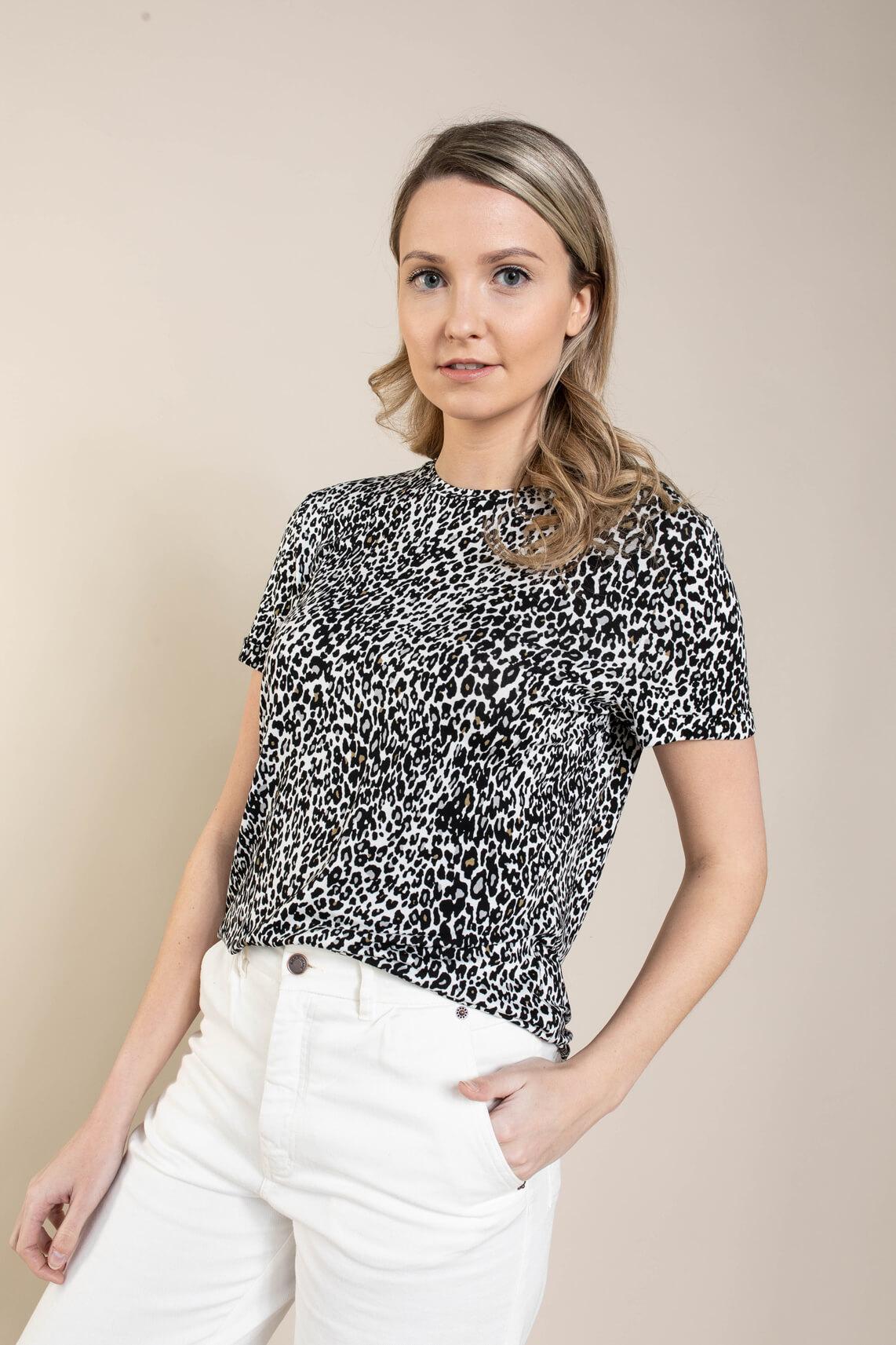 Anna Dames Shirt met animalprint Wit