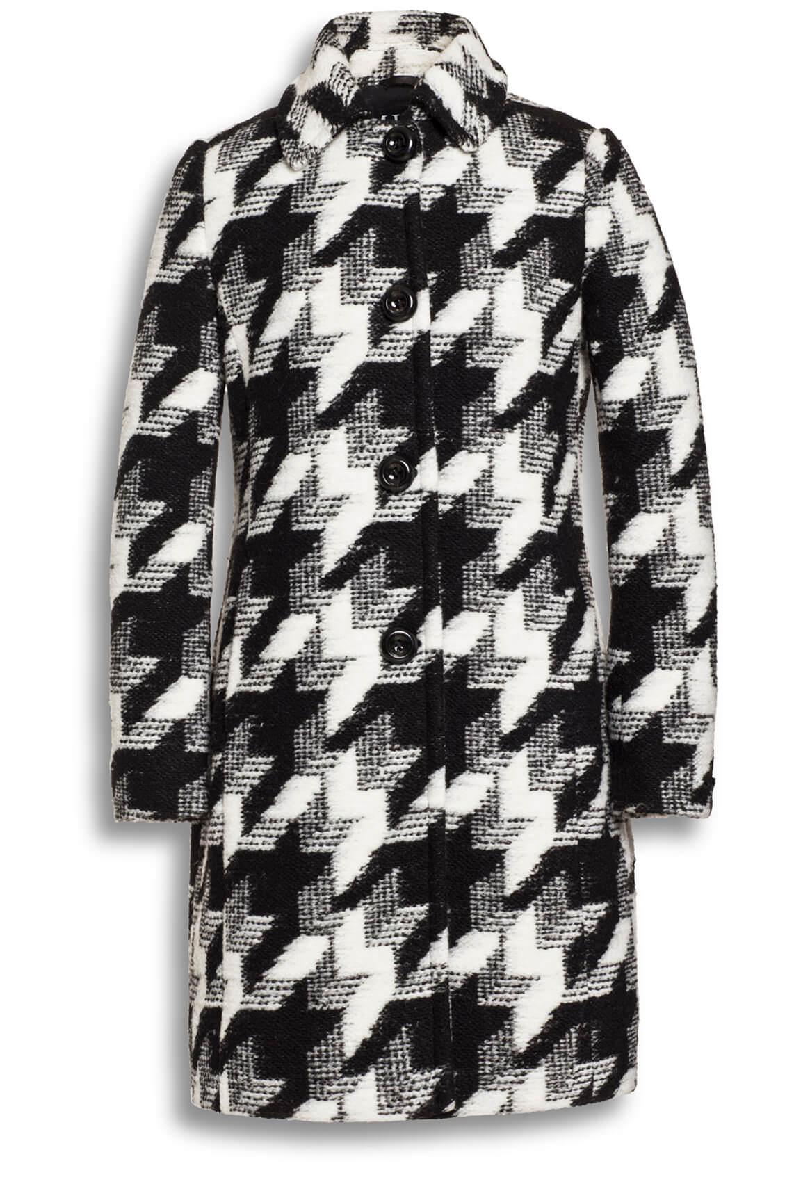 Milo Dames Wollen print jas Zwart