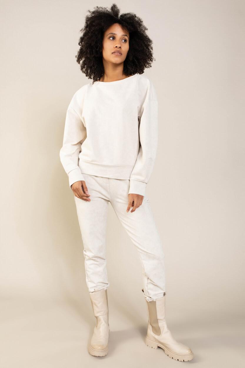 Anna Dames Washed sweater Ecru