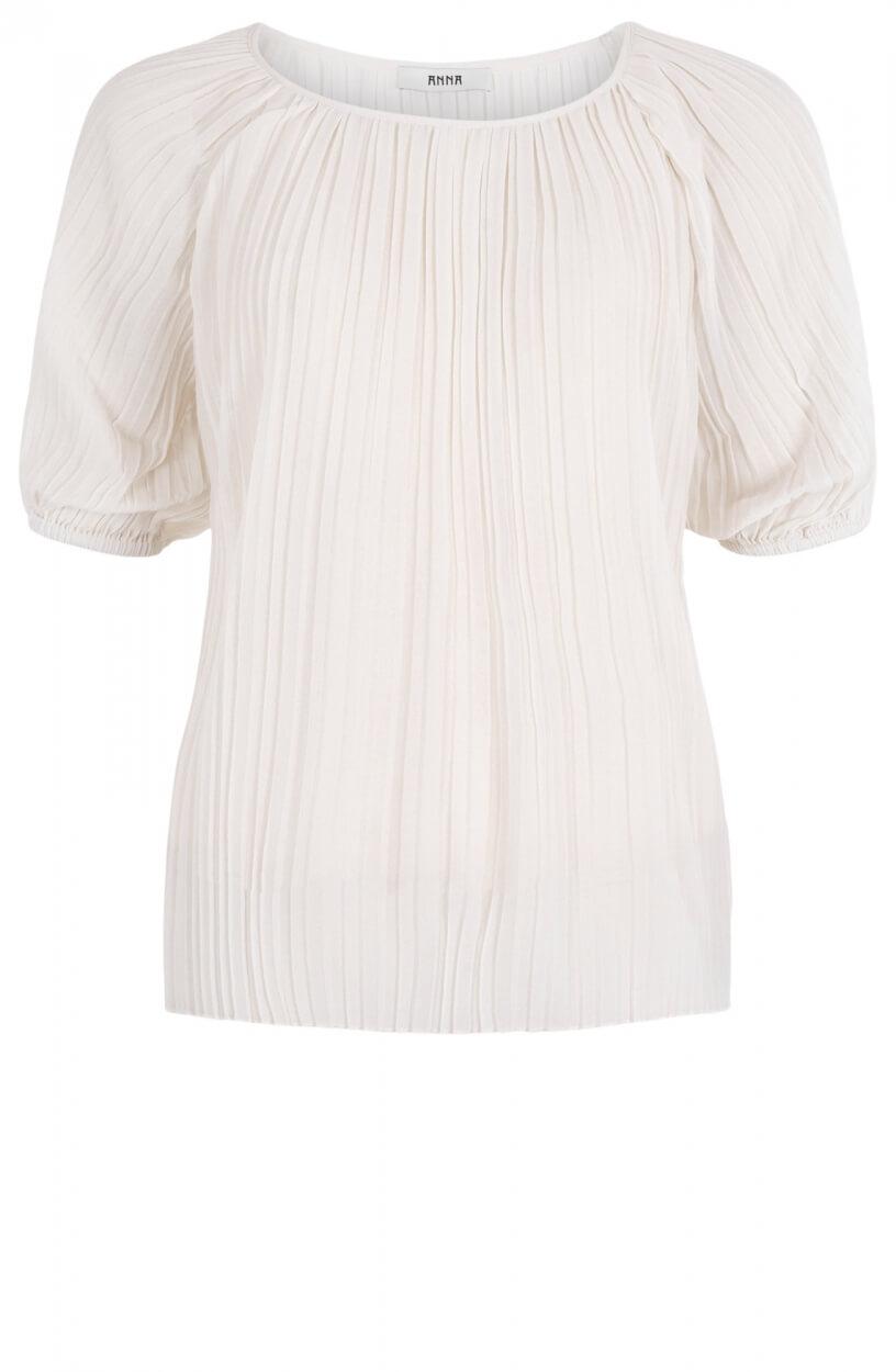 Anna Dames Plissé blouse Wit
