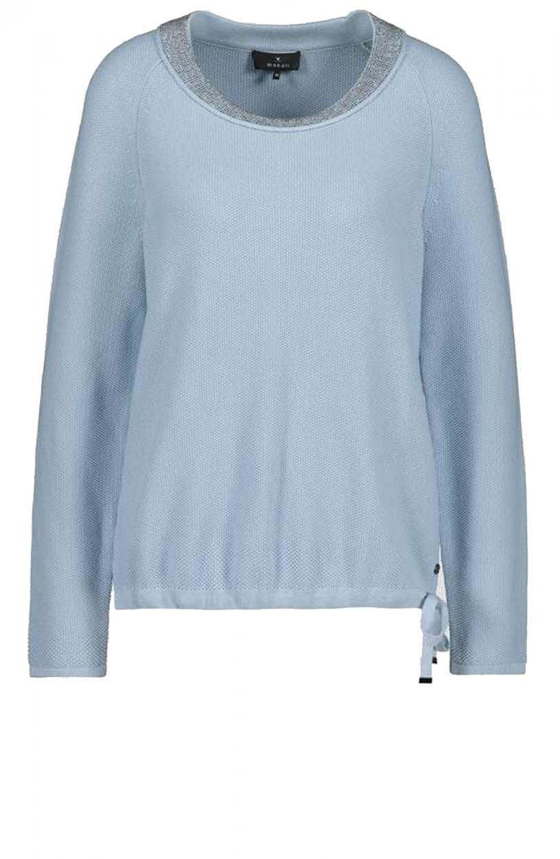 Monari Dames Pullover met strasshals Blauw