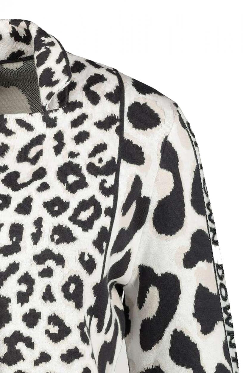 Monari Dames Fijngebreid luipaard vest Wit