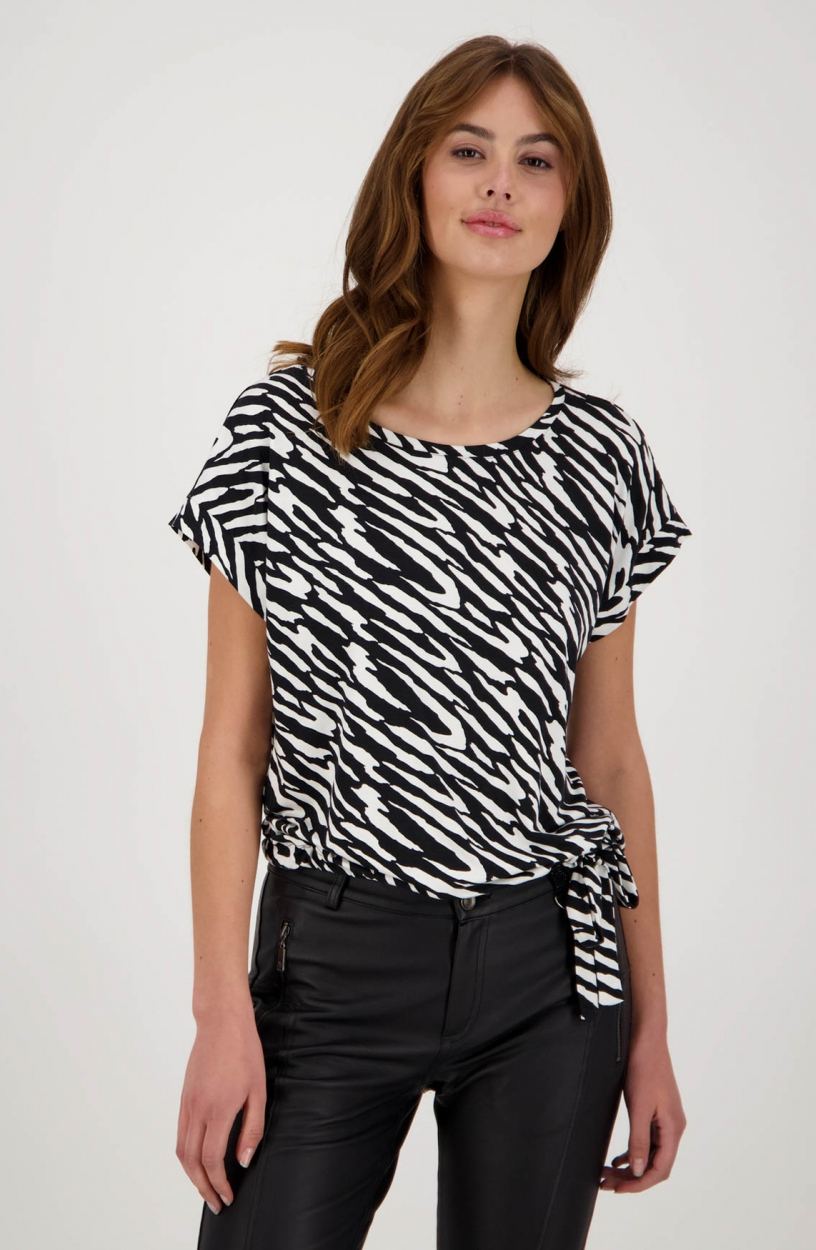 Monari Dames Shirt met zebraprint Zwart