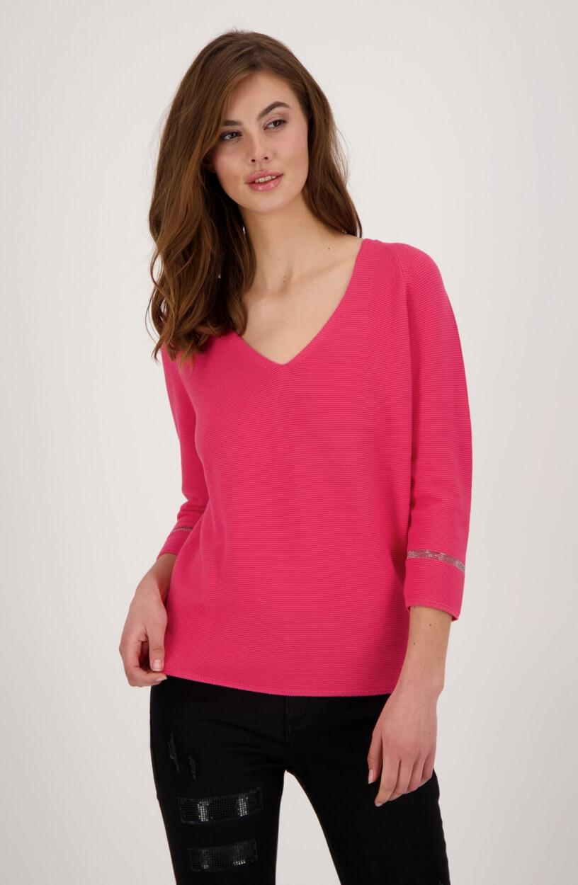 Monari Dames Gebreide pullover met v-hals Roze