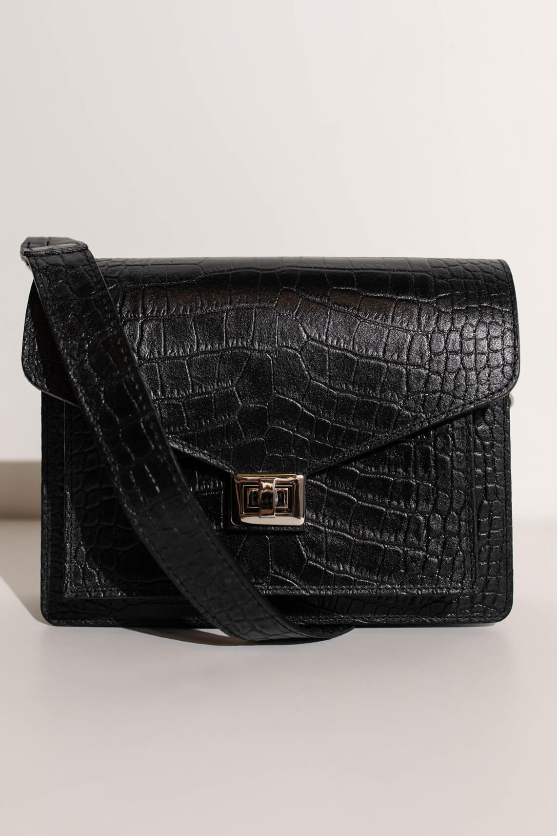 Fique the Label Dames Beaubag croco Zwart
