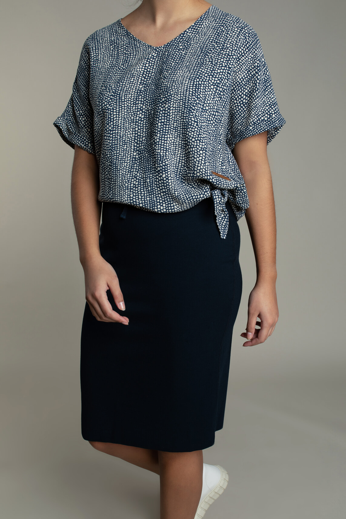 Moscow Dames Lindy blouse met knoopdetail Blauw