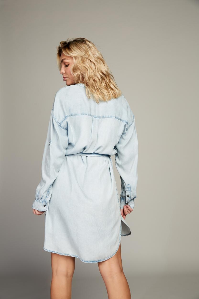 Moscow Dames Amy denim jurk Blauw