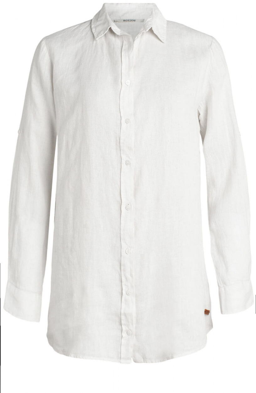 Moscow Dames Button linnen blouse Wit