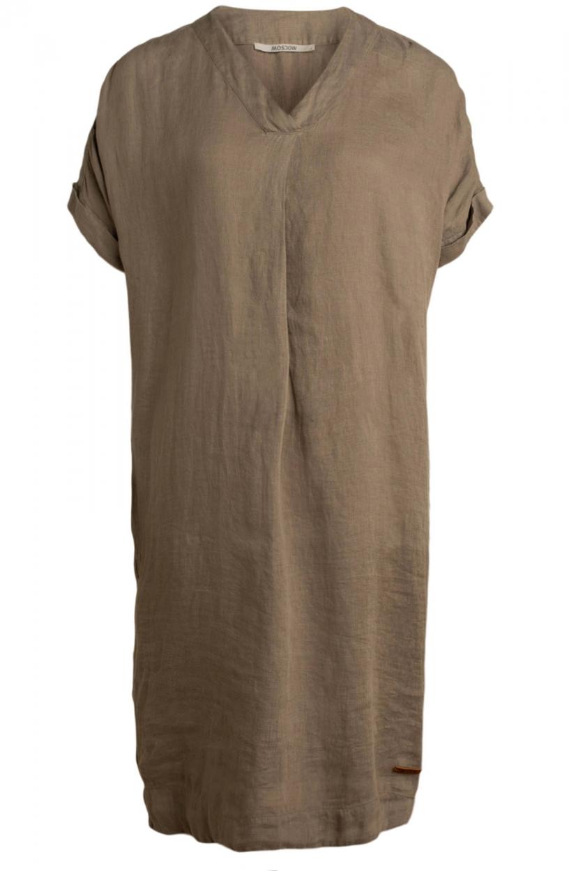 Moscow Dames Heroin linnen jurk Bruin