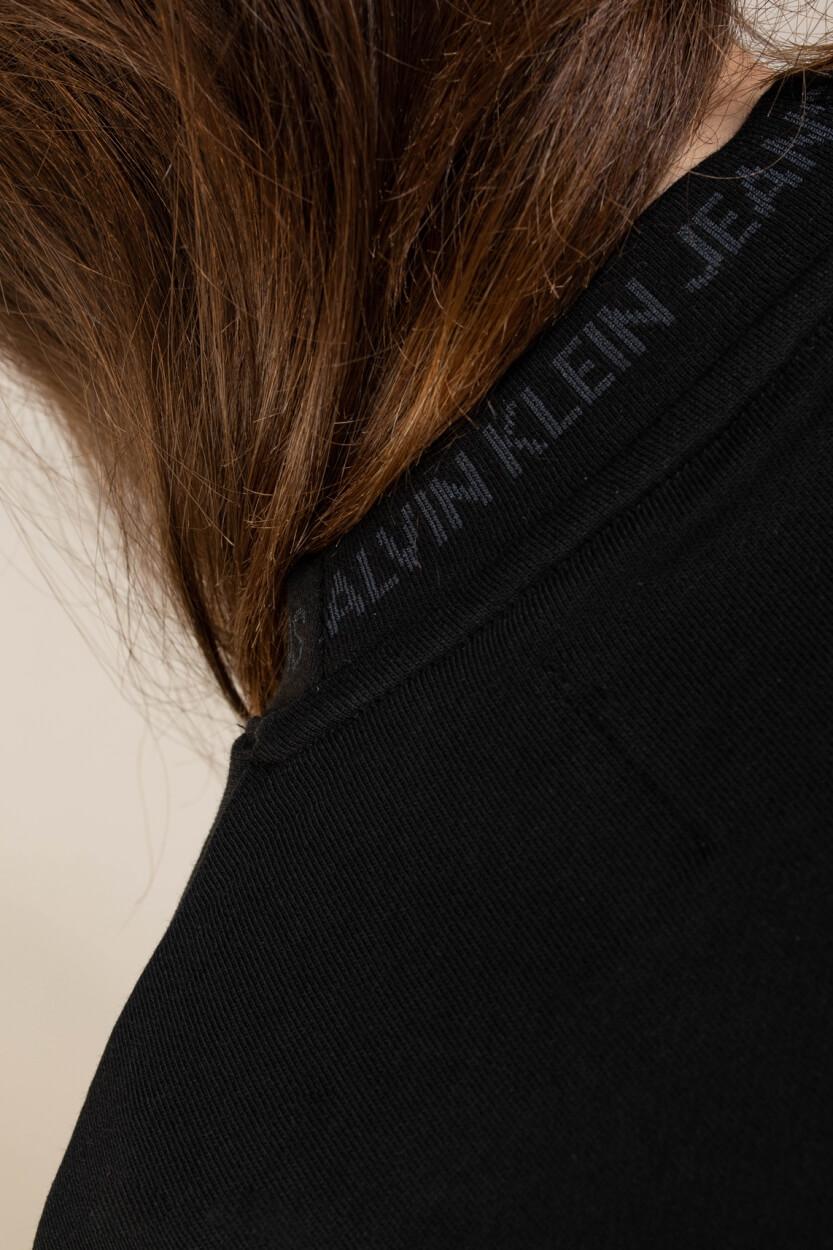 Calvin Klein Dames Sweater met logo hals Zwart