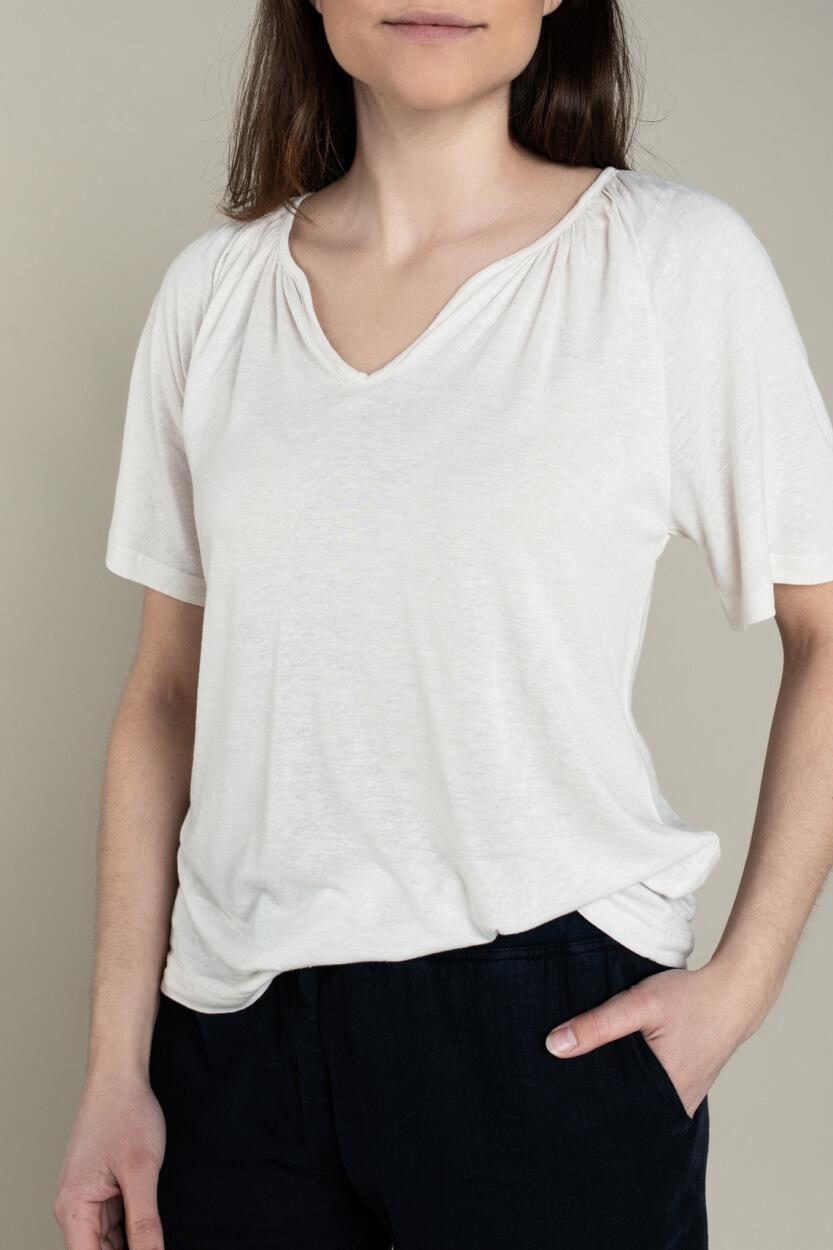 Moscow Dames Gather linnen shirt Wit
