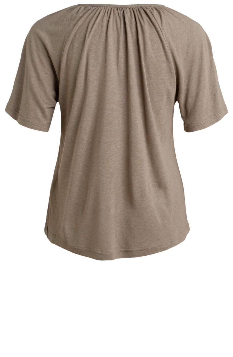 Moscow Dames Gather linnen shirt Bruin