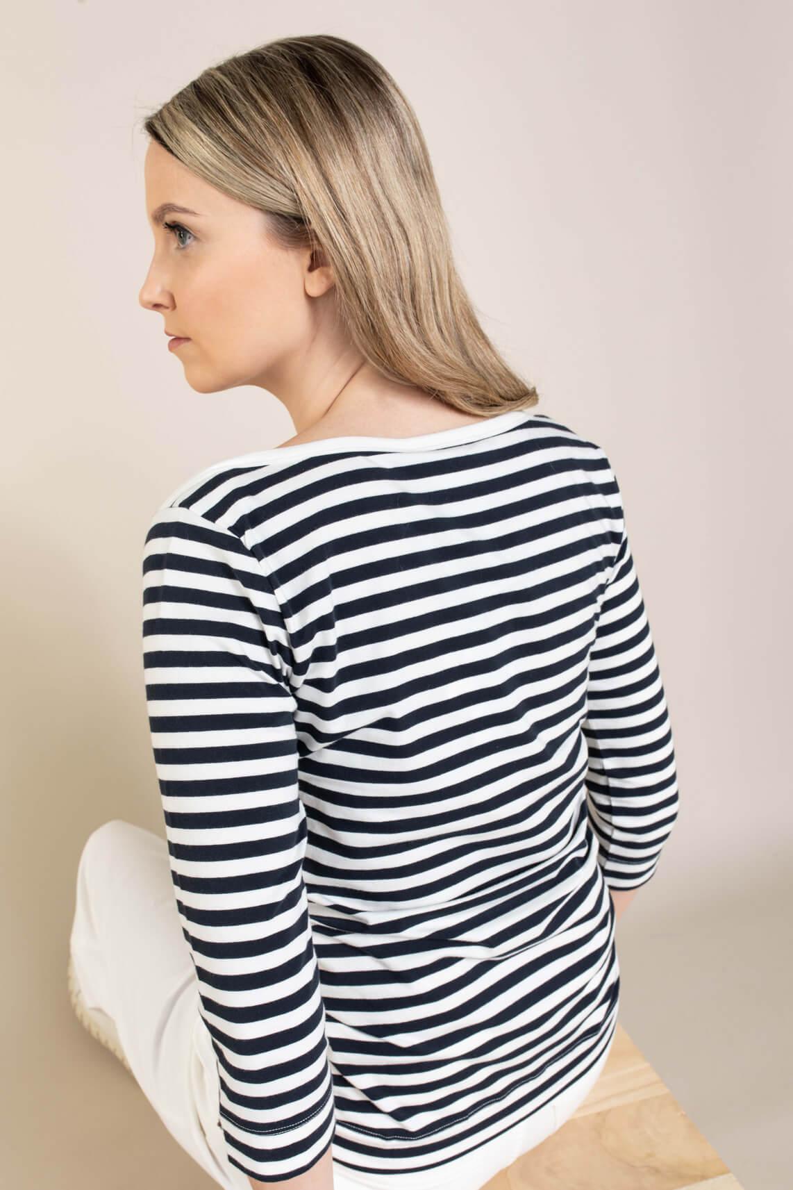 Penn & Ink Dames Gestreept shirt Blauw