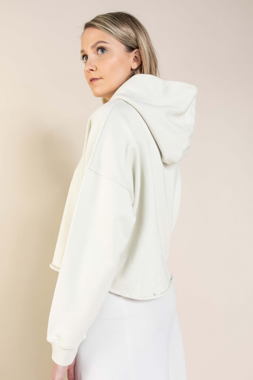 Penn & Ink Dames Cropped pullover Wit