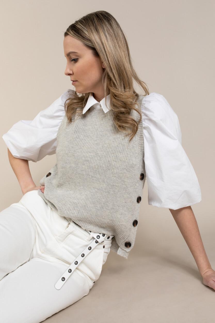 Co Couture Dames Gebreide gilet met knoop Wit
