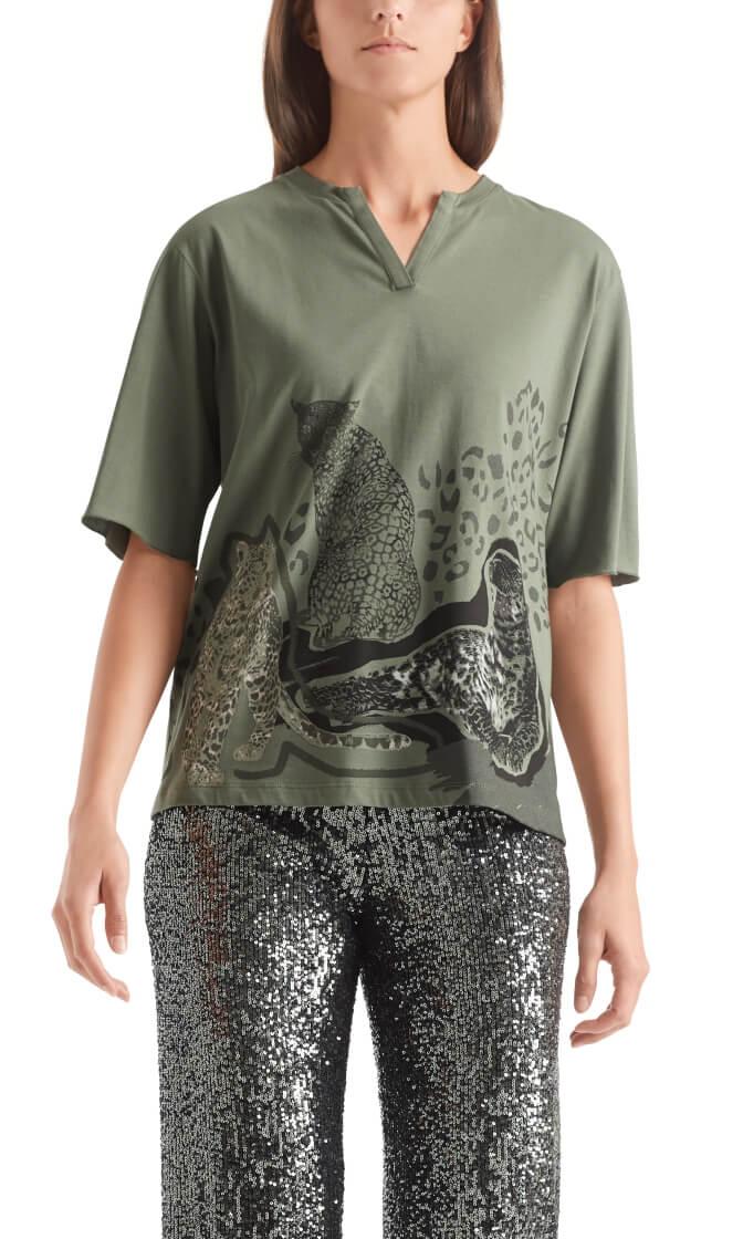Marccain Sports Dames Luipaard shirt Groen
