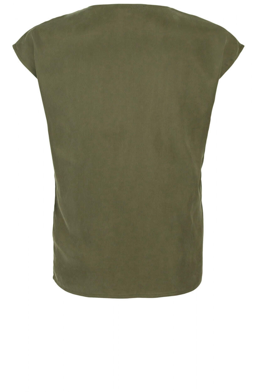 Emotions Dames Cupro shirt met V-hals Groen