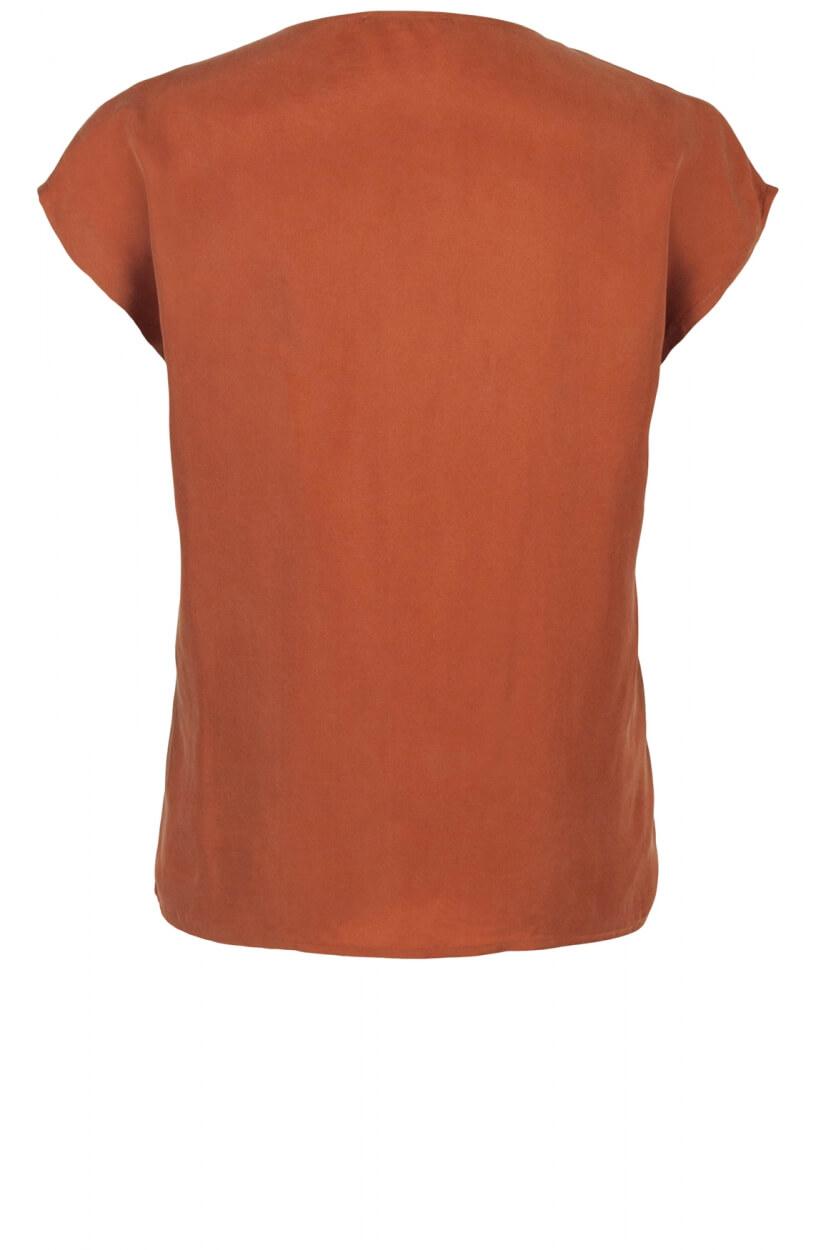 Emotions Dames Cupro shirt met V-hals Bruin