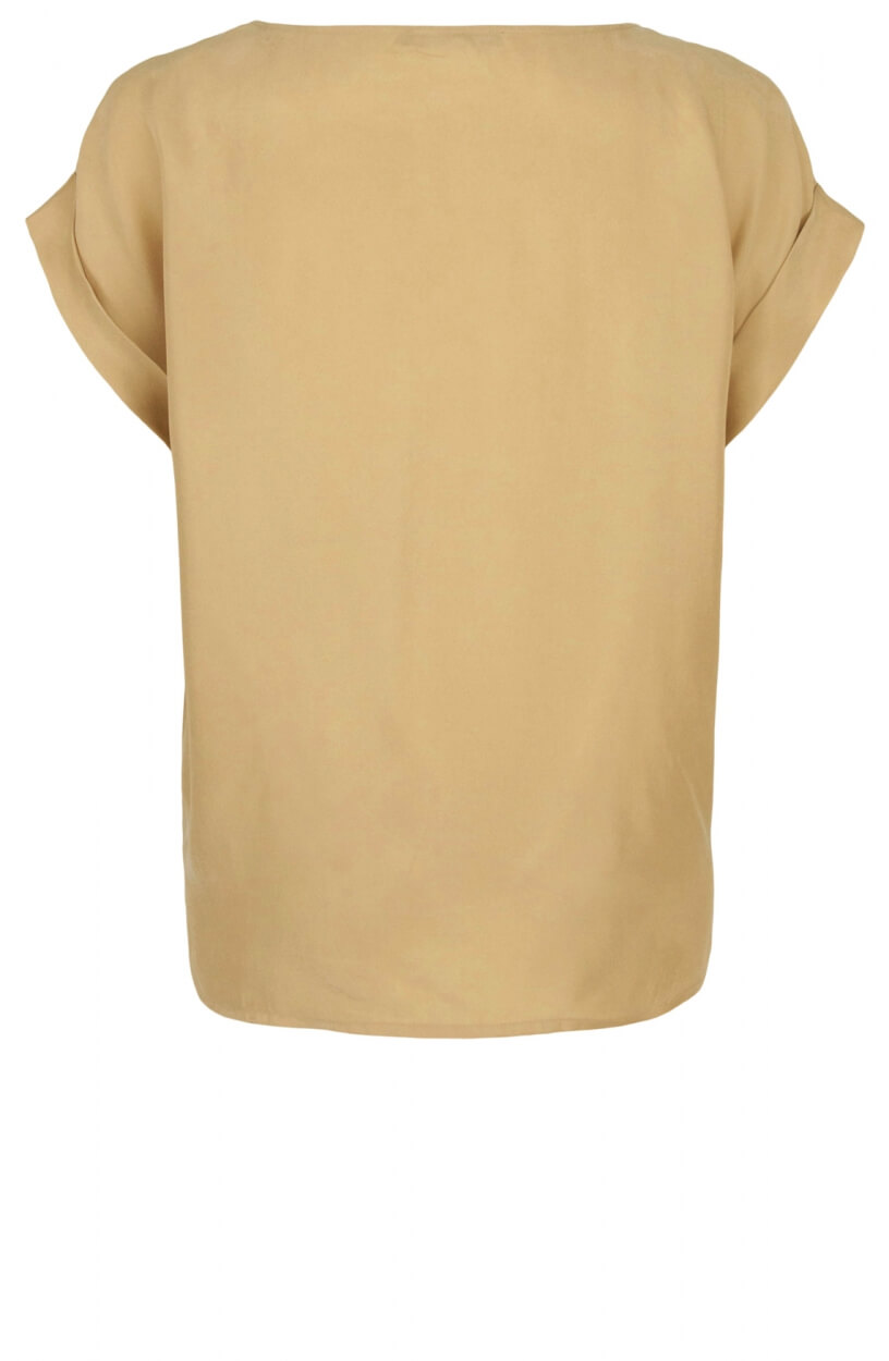 Emotions Dames Cupro shirt met O-hals Bruin