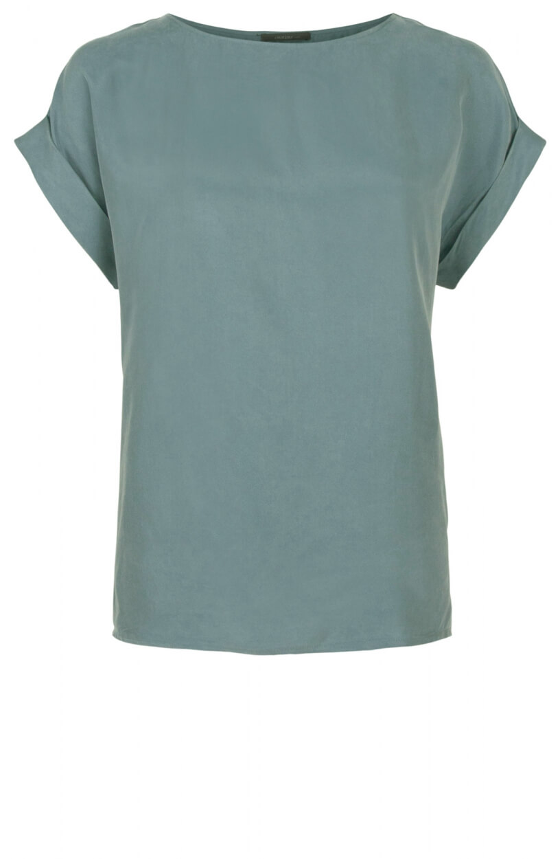 Emotions Dames Cupro shirt met O-hals Blauw