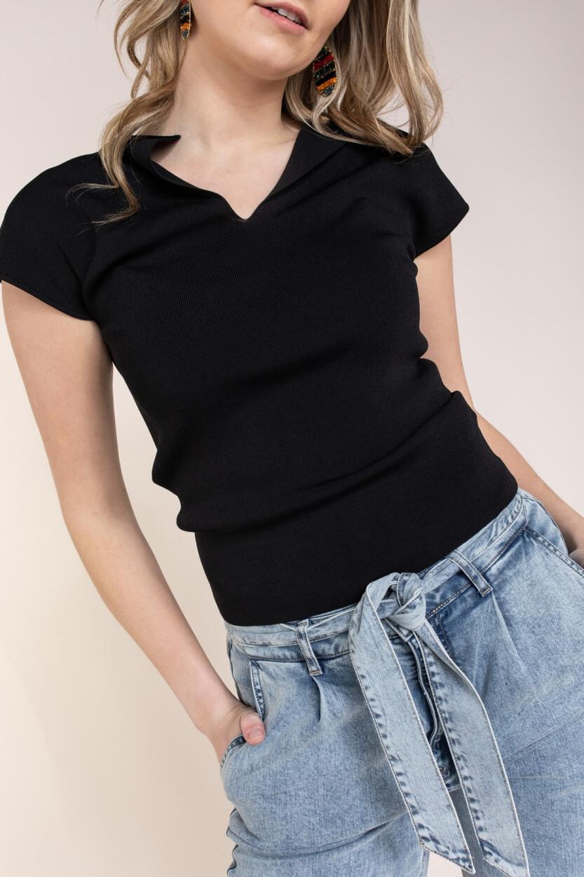 Emotions Dames Stretch shirt Zwart