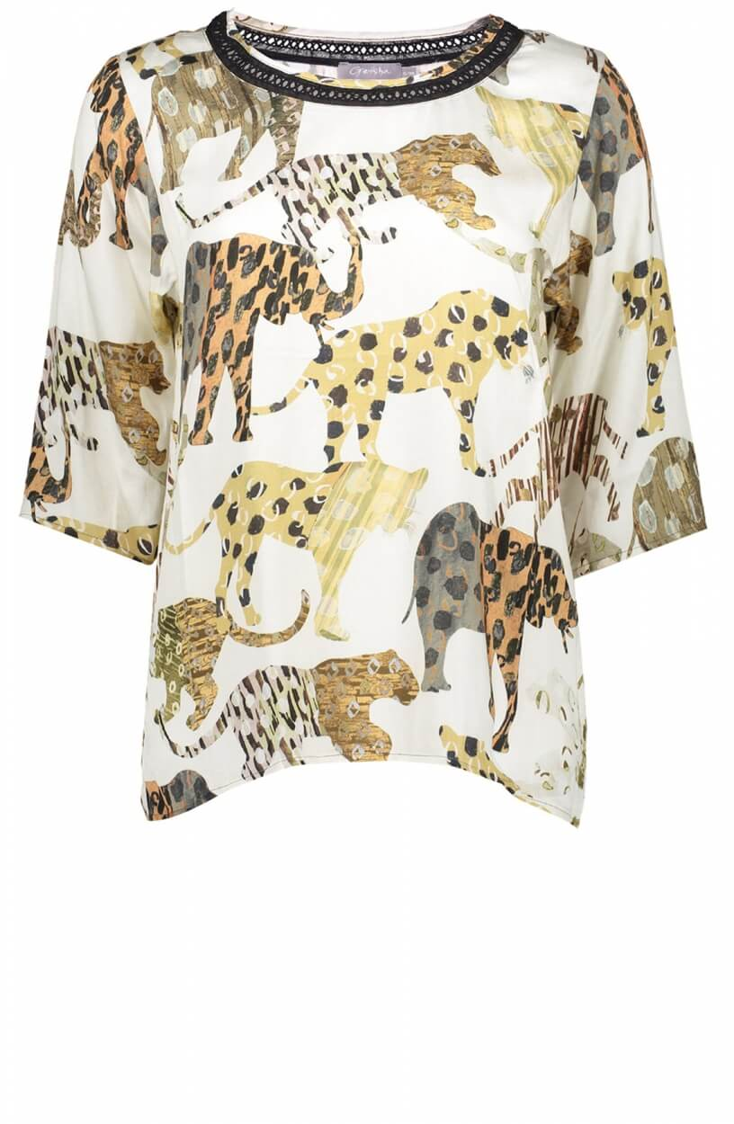 Geisha Dames Safari blouse Wit