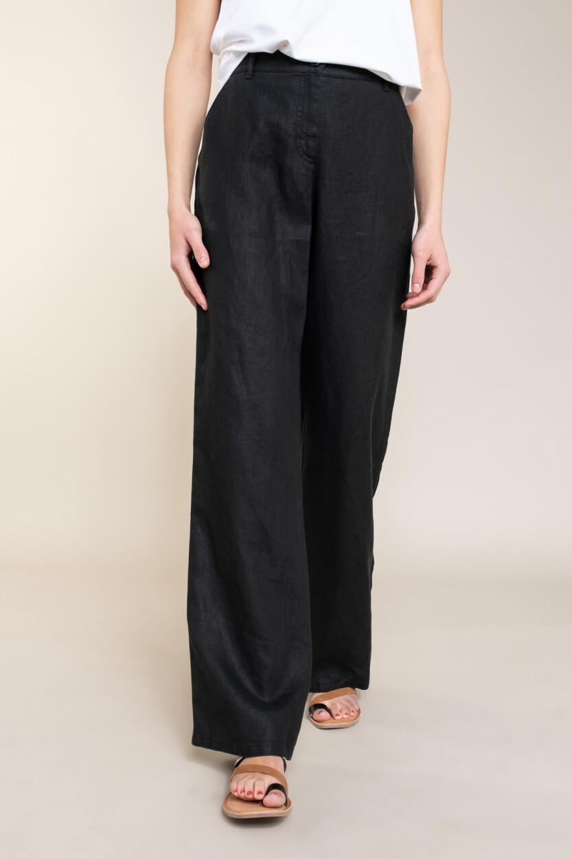 Brax Finest Dames Maine linnen broek Zwart