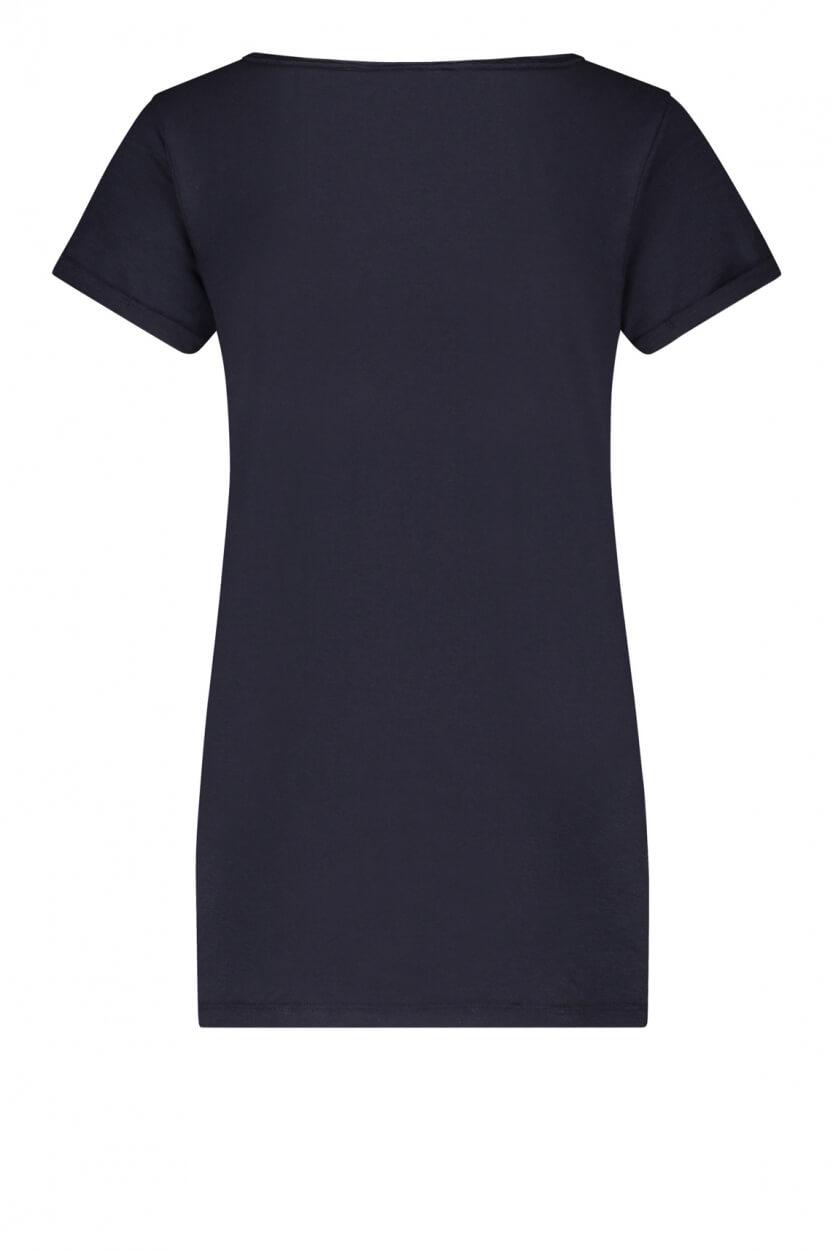 Penn & Ink Dames Logoprint shirt Blauw