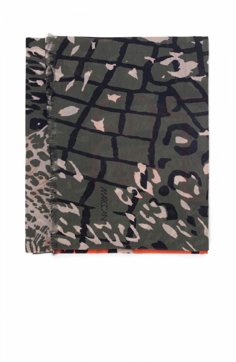 Marccain Sports Dames Dierenprint shawl Groen