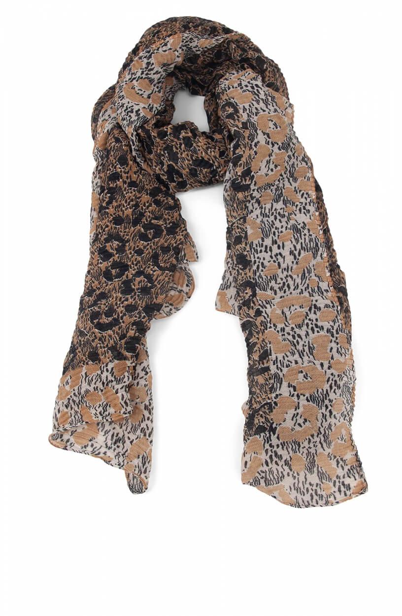 Codello Dames Plissé shawl met animalprint Bruin