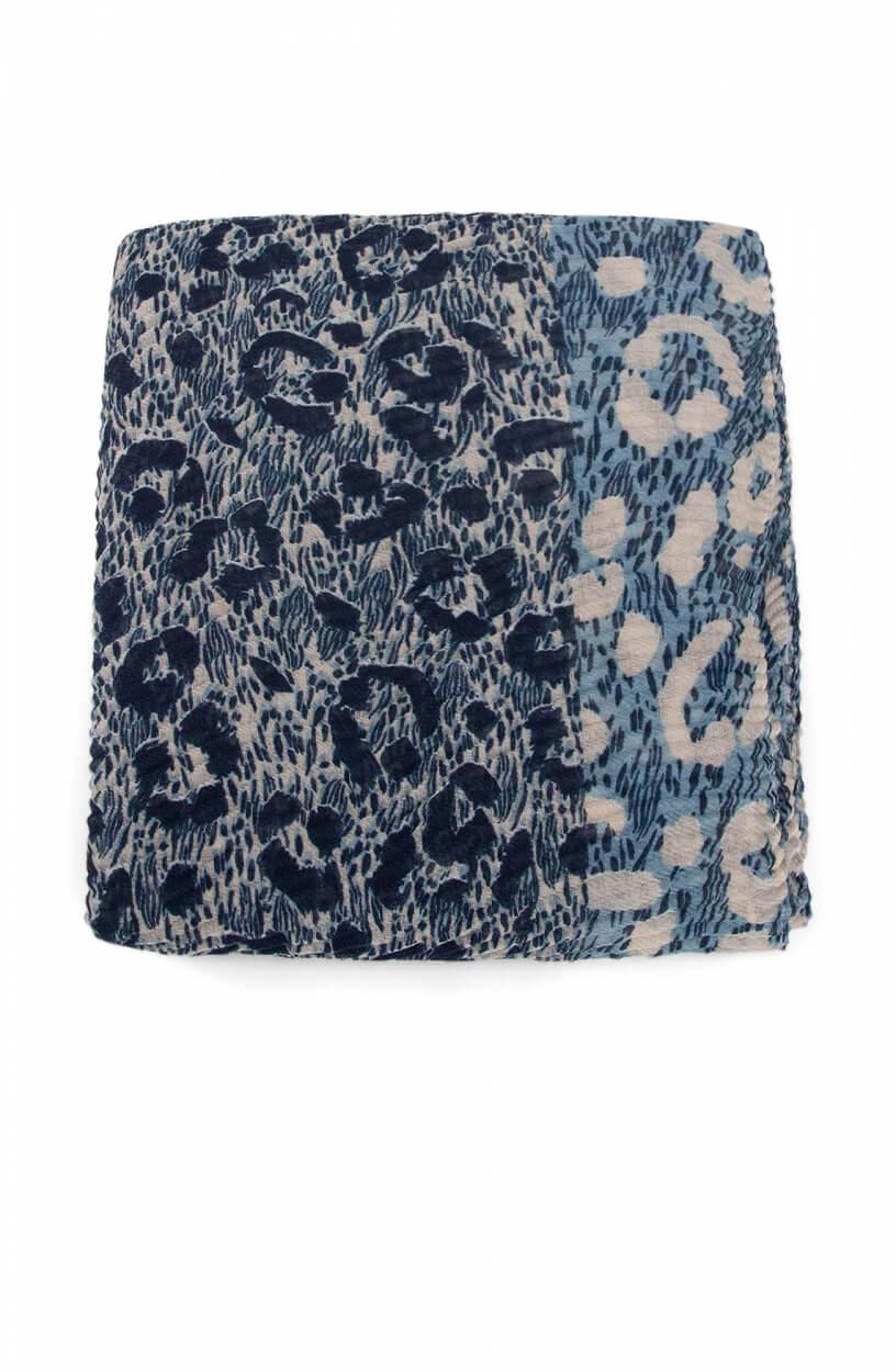 Codello Dames Plissé shawl met animalprint Blauw