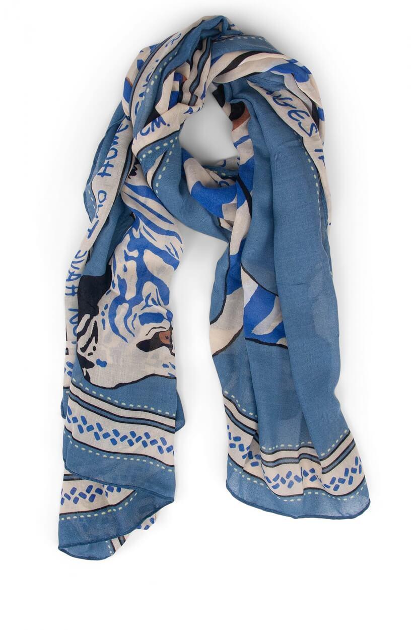 Codello Dames Shawl met tijgerprint Blauw