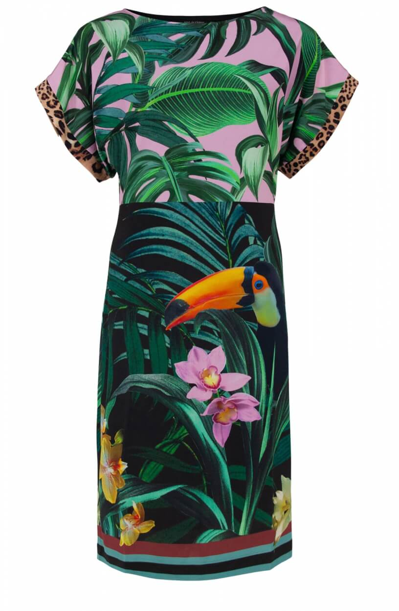 Ana Alcazar Dames Jurk met tropische print Zwart