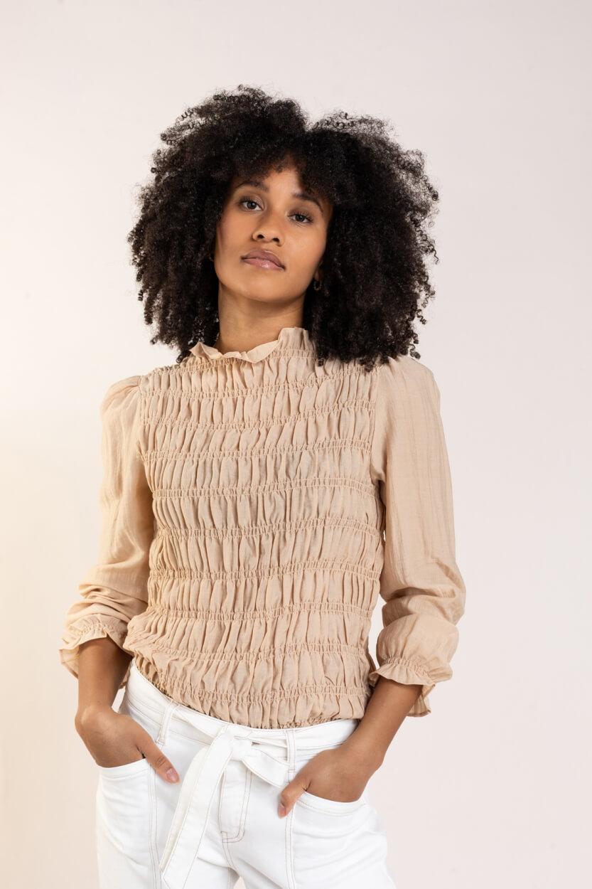 Levete Room Dames Monica smock blouse Bruin