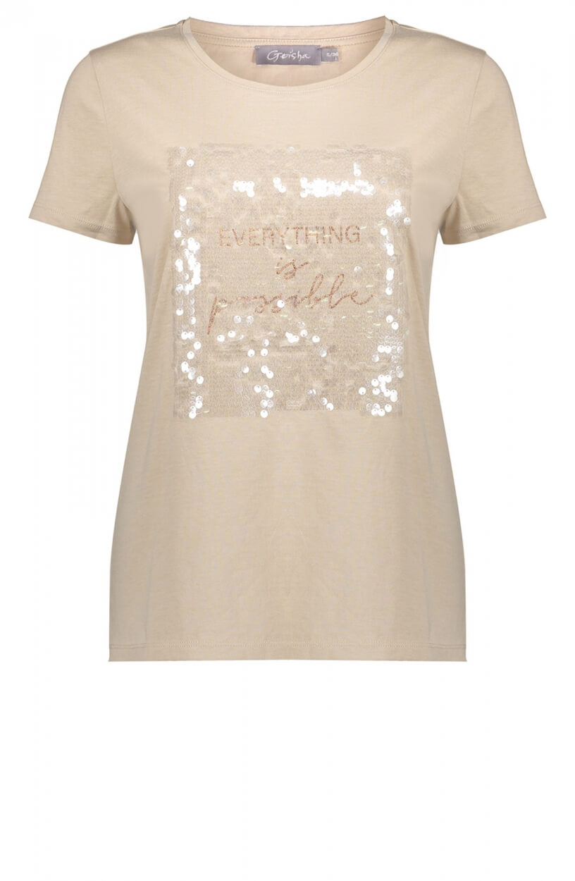 Geisha Dames Shirt met pailletten Wit