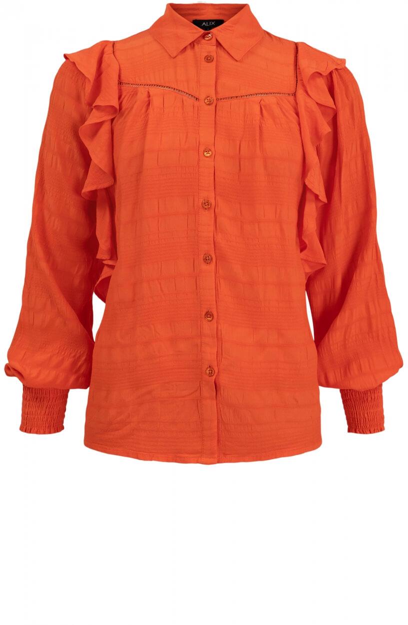 Alix The Label Dames Volantblouse Oranje