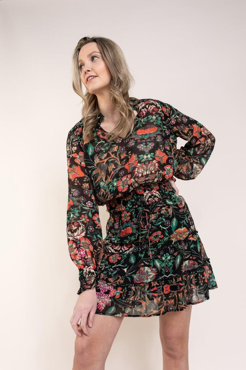 Alix The Label Dames Blouse met print Zwart