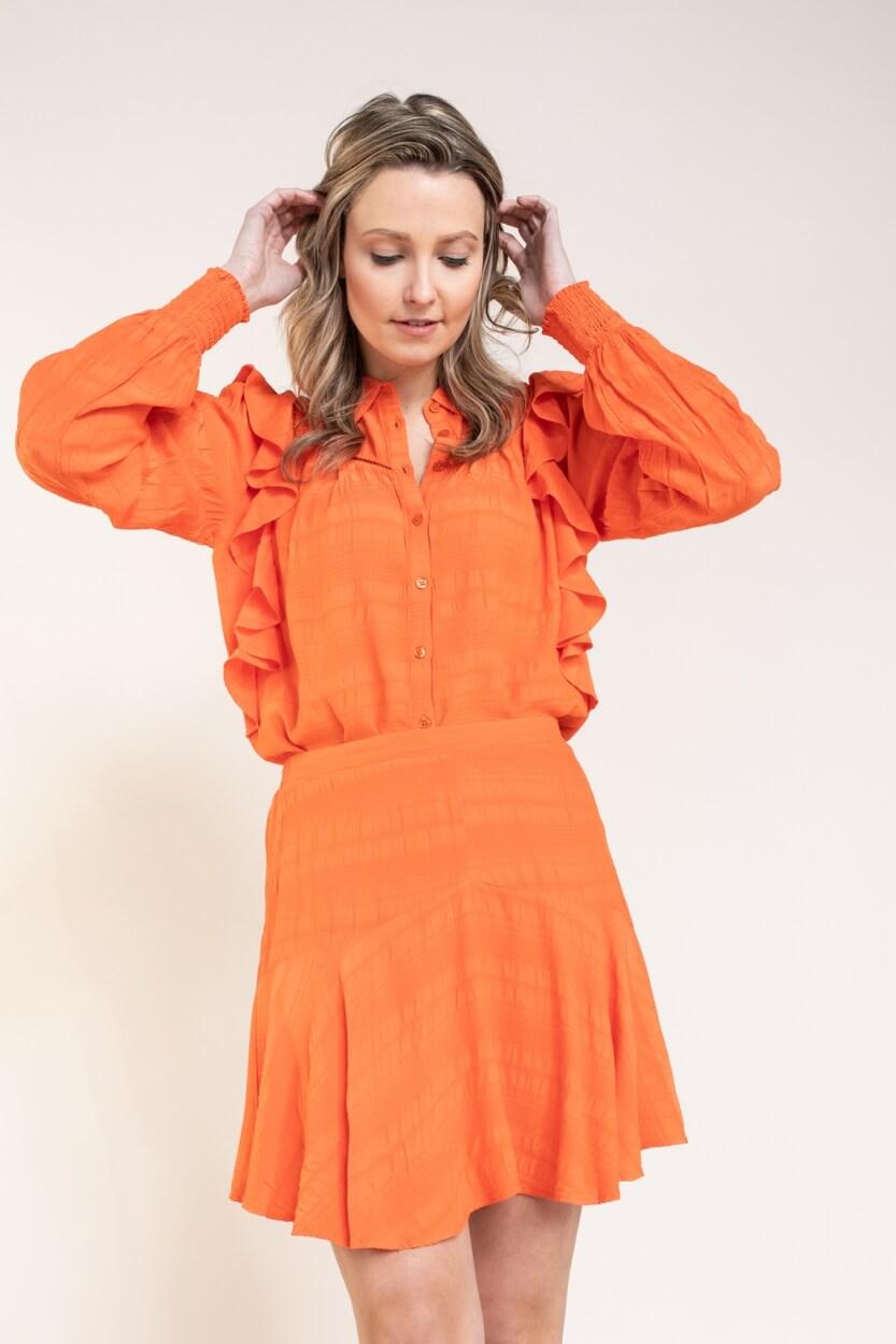 Alix The Label Dames Rok met volant Oranje
