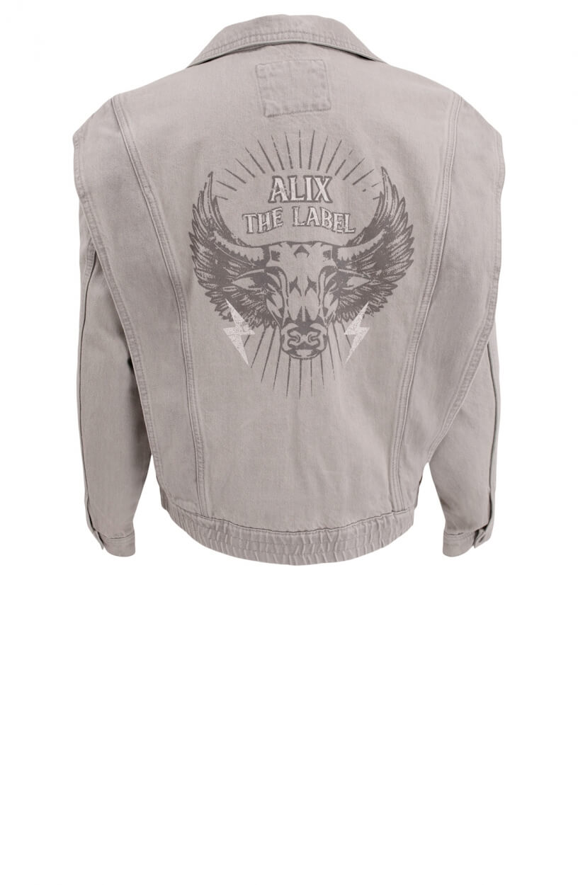 Alix The Label Dames Biker denimjack Grijs