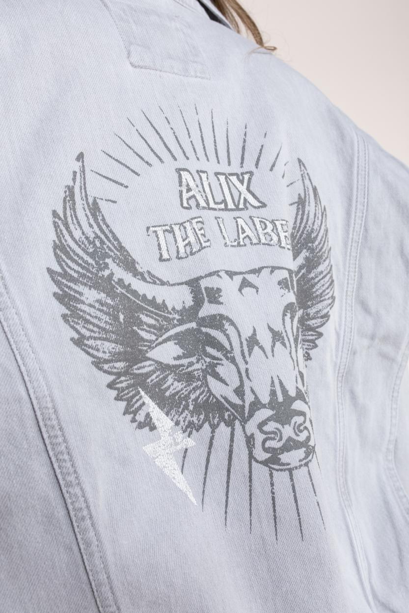 Alix The Label Dames Biker denimjack Grijs
