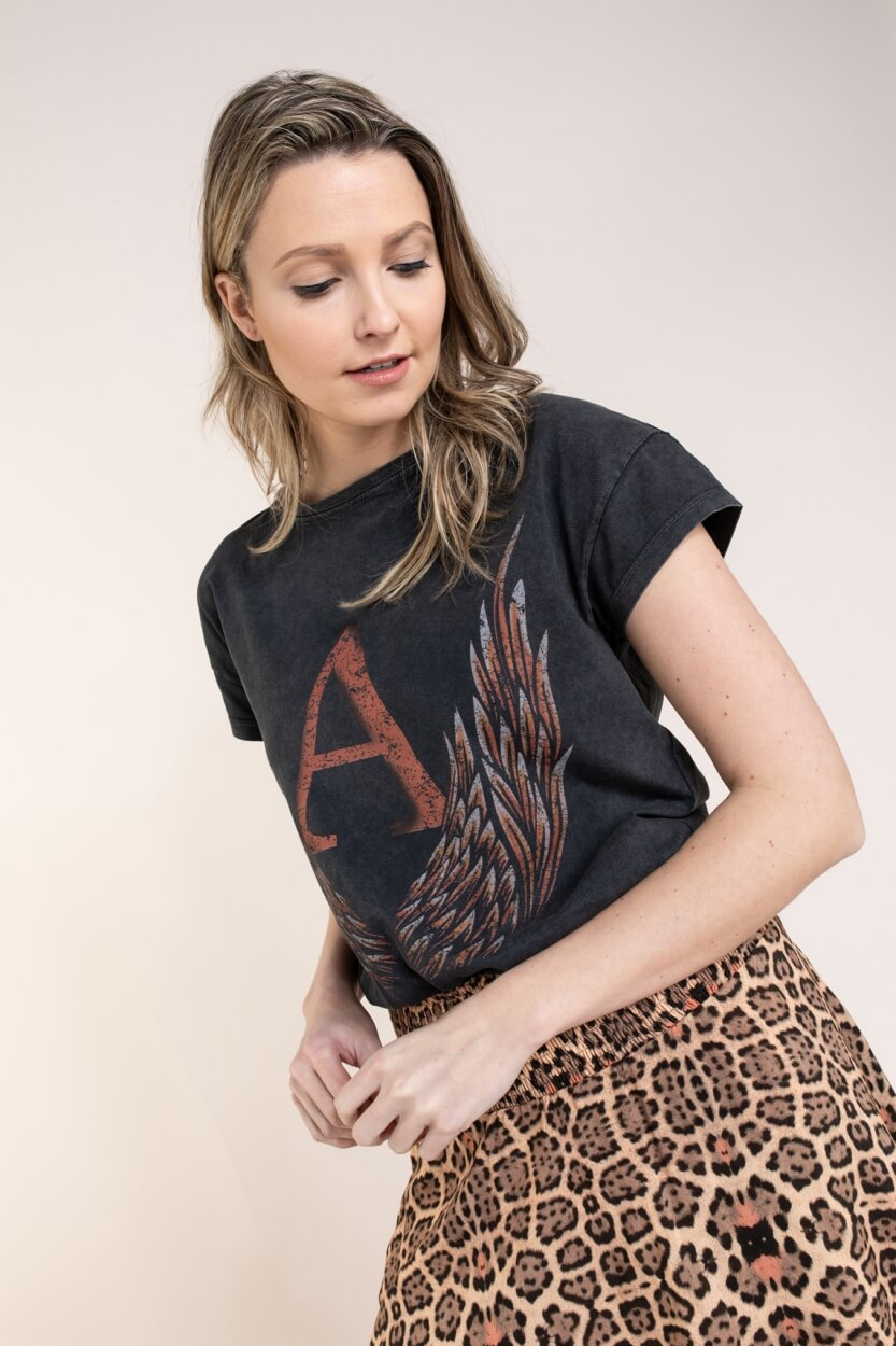 Alix The Label Dames Shirt met print Zwart