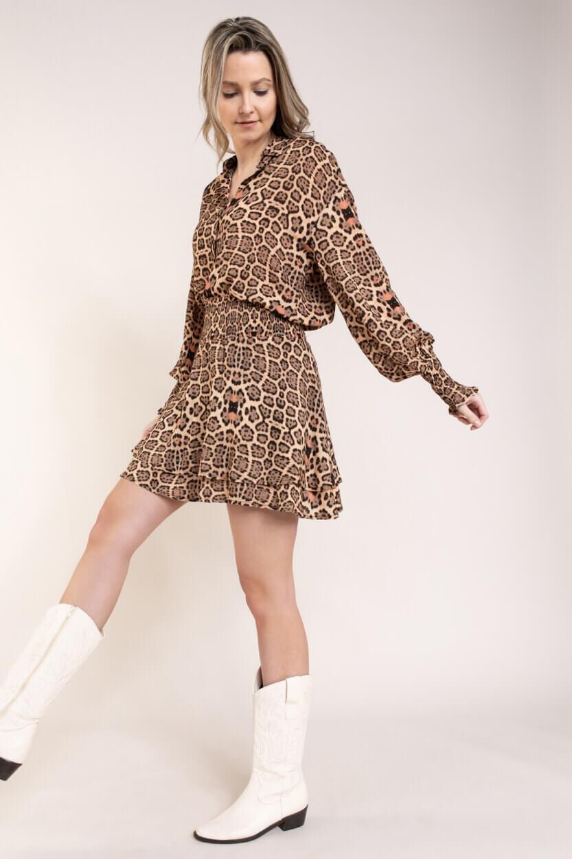 Alix The Label Dames Leopard blouse Bruin
