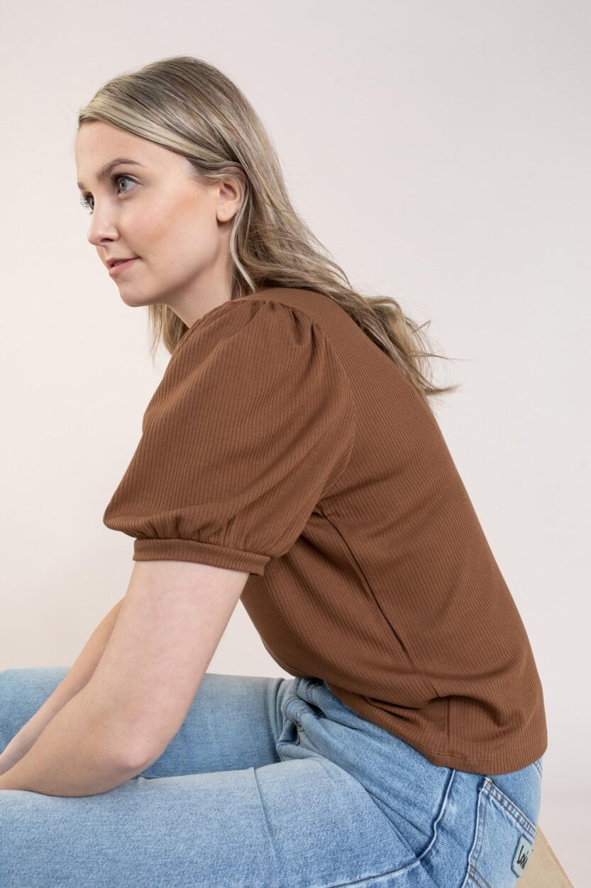 Object Dames Jamie shirt Bruin